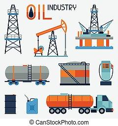 benzina, icon., industriale, set, olio