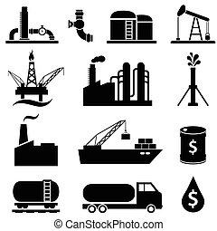 benzina, olio, set, icona