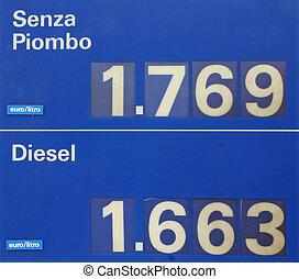 benzina piombo, diesel, segno, verde, prezzi