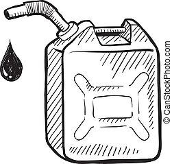 benzina può, schizzo