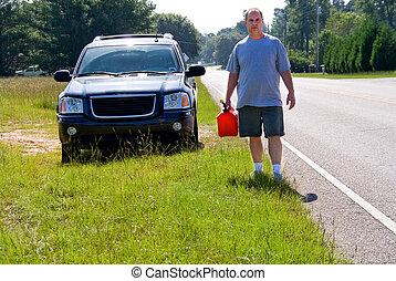 benzinből kifogyva