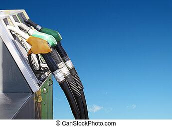 benzine, concept, maak lucht schoon
