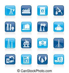 benzine, en, olie industrie, iconen