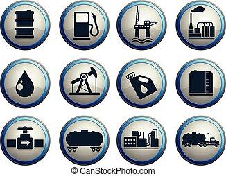 benzine, industrie, olie, voorwerpen, iconen