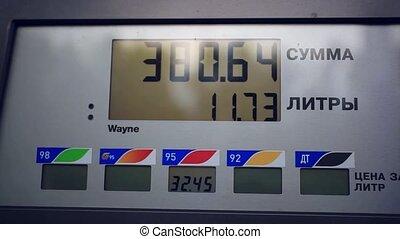 benzine meter car at gas russian station - benzine meter car...