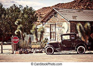 benzinestation, op, de, beroemd, route 66, straat, in, usa