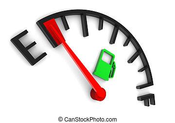 benzinszint mutató, üres