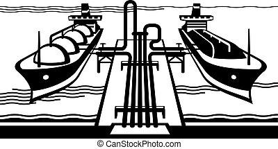 benzintank, terminal, mit, frachtschiffe