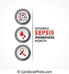 beobachtet, abbildung, monat, sepsis, vektor, bewusstsein, september