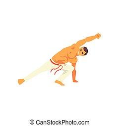beoefenen, danser, nationale, capoeira, karakter, illustratie, krijgshaftig, vector, braziliaans, kunst, mannelijke , vechter