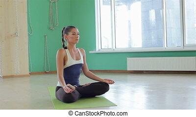 beoefenen, meditatie, vrouw, yoga