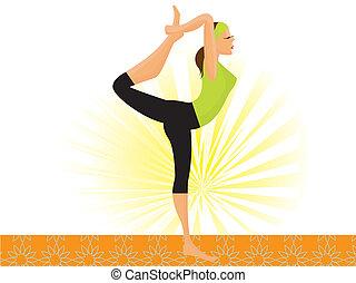 beoefenen, sportief, dans poseren, natarajasana, vector, heer, meisje