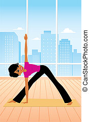 beoefenen, vrouw, yoga houding
