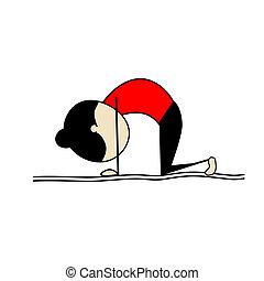 beoefenen, vrouw, yoga