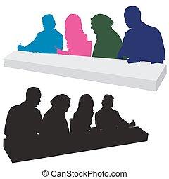 beoordeling, silhouette, paneel
