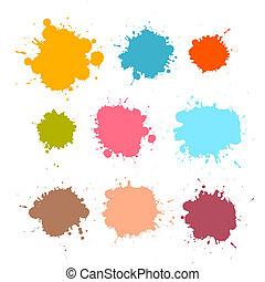 bepiszkol, állhatatos, színes, vektor, retro, blots, loccsan