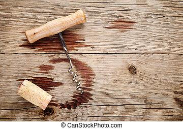 bepiszkol, bedugaszol, fából való, dugóhúzó, háttér, bor