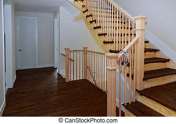 bepiszkol, korlátok, új, keményfa, erdő, floors., otthon, bepiszkítás, szerkesztés