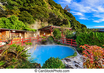Beppu Japan Hot Springs - Beppu, Japan hot springs at kamado...