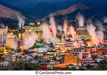 Beppu, Japan Onsens - Beppu, Japan cityscape with hot spring...