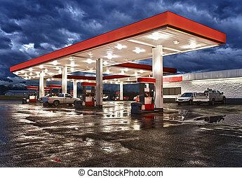 bequemlichkeit, station, gas, kaufmannsladen