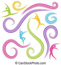 beräknar, dansande