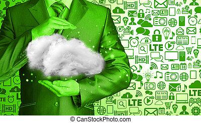 beräkning, begrepp, uppe, ung, nära, affärsman, moln
