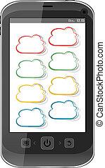 beräkning, mobil, concept., ringa, moln, ikon