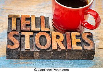 berätta, historier, ord, in, ved, typ