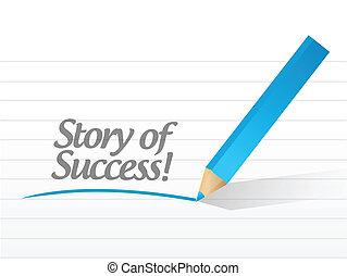 berättelse, meddelande, illustration, framgång, skriftligt