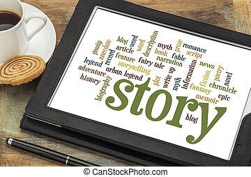 berättelse, och, storytelling, ord, skyn