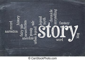 berättelse, ord, moln, på, blackboard