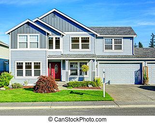 berättelse, portal, stor, house., entance, två, garage, ...