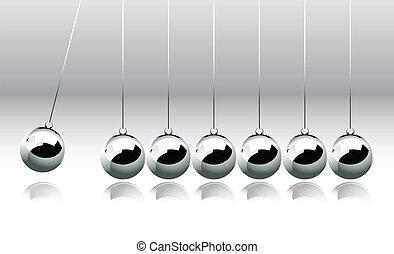 berço, bolas, equilibrar, newton's