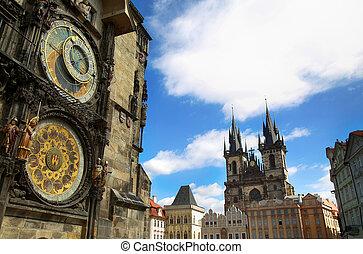 berömd, astronomisk klocka, orloj, och, kyrka, av, vår, dam, tyn, in, prag, tjeckisk republik