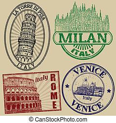 berömd, frimärken, städer, italiensk