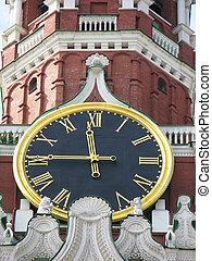 berömd, kreml, klocka, på, den, spasskaya torn
