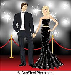 berömd, lyxvara, par, mode, kvinna, och, elegant, man, framme av, den, paparazzi, på, den, röd matta