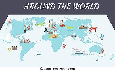 berömd, milstolpar, karta, värld, ikonen