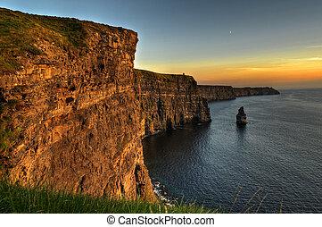 berömd, moher klippor, solnedgång, län clare, irland