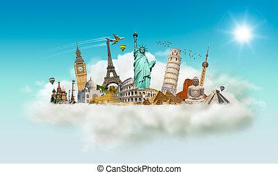 berömd, moln, värld, minnesmärkena
