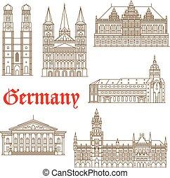 berömd, tysk, milstolpar, ikon, arkitektur