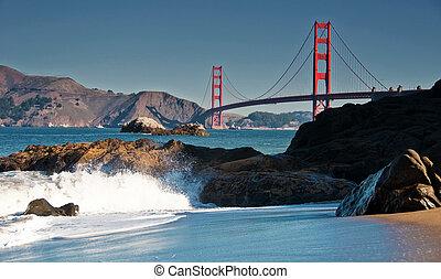 berømte, smukke, san francisco, gylden låge bro