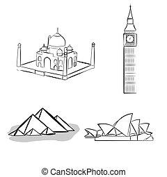 berømte, steder