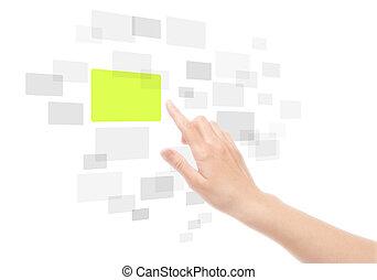 berøring, bruge, skærm, grænseflade, hånd