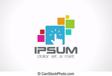 berøring, grænseflade, udvikler, template., logo