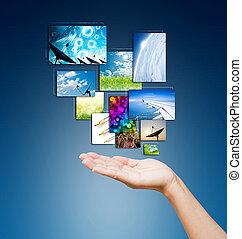 berøring pad, pc., og, streaming, billederne, knapper, på, kvinder, hånd på, baggrund, blå