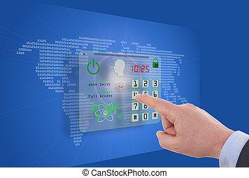 berøring skærm, computer, idet, security internet, online, begreb branche