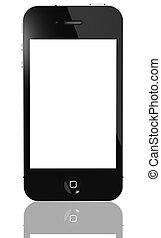 berøring, telefon, skærm, moderne, isoleret