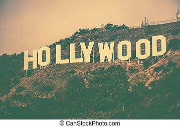 berühmt, hollywood, hügel